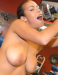 Amazing big tits work out babe gets nailed hard on her bouncy  ball in these hot babe gym fucking reality movie
